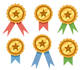 Set of golden award badges with blue,red and green ribbons. Flat vector illustration isolated on white background