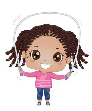 Kid Girl Black Jumping Rope Illustration
