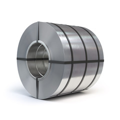 Roll of rolled steel sheet isolated on white background. Production, delivery and storage of metal products.