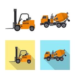 Vector illustration of build and construction sign. Set of build and machinery stock vector illustration.