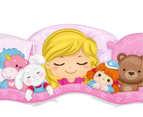 Kid Girl Sleep Stuffed Toys Illustration