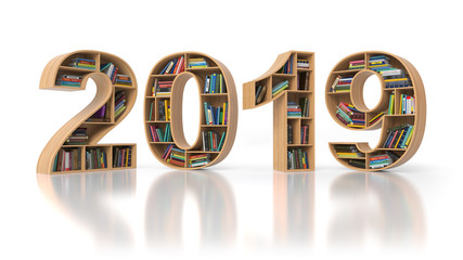 2019 new year education concept. Bookshelvs with books in the form of text 2019.