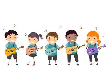 Stickman Kids Guitar Instrument Illustration