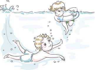 Kids Boys Swim Teach Brotherly Duty Illustration