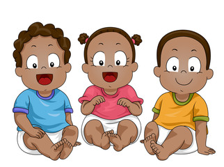 Kids Toddlers African American Illustration