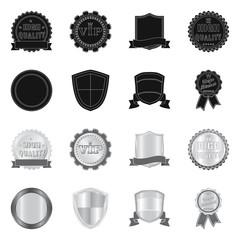 Vector illustration of emblem and badge symbol. Set of emblem and sticker stock symbol for web.