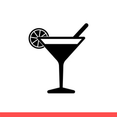 Cocktail vector icon, martini symbol. Simple, flat design for web or mobile app
