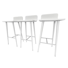 Bar stool furniture 3d render isolated on white. High chair. Bar interior design.