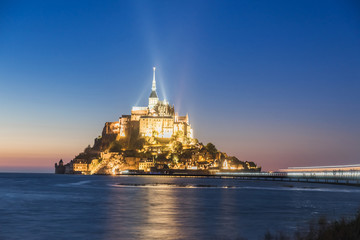 Mont Saint Michel abbey on the island, Normandy, Northern France, Europe