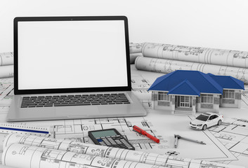 Construction plans with laptop and House, Architectural and engineering housing concept. 3d render