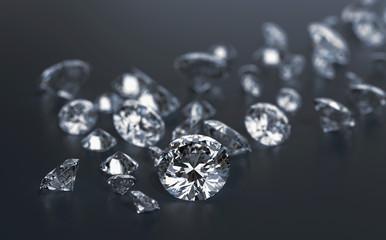 Diamonds group placed on dark blue  background, 3d illustration.