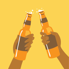 Flat isolated vector illustration of drinking beers, cheers, party. Two friend are drinking beers