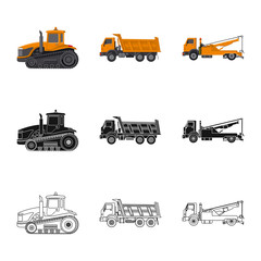 Isolated object of build and construction symbol. Collection of build and machinery vector icon for stock.