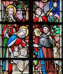 Fototapete - Stained Glass - Nativity Scene at Christmas