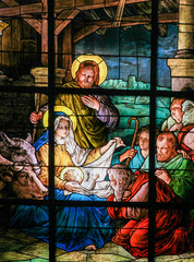 Wall Mural - Nativity Scene at Christmas - Stained Glass window