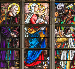 Fototapete - Stained Glass - Magi or the Three Kings from the East
