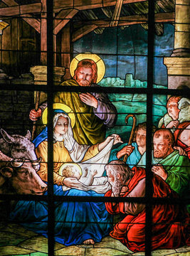 Nativity Scene at Christmas - Stained Glass window
