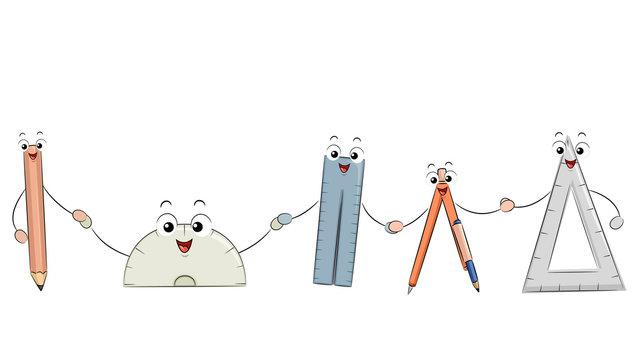 Mascot Math Tools Illustration