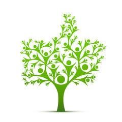 People tree sign like color green on the white background. Vector illustration