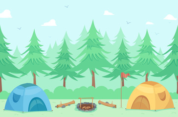 Camping Tents Outdoors Illustration