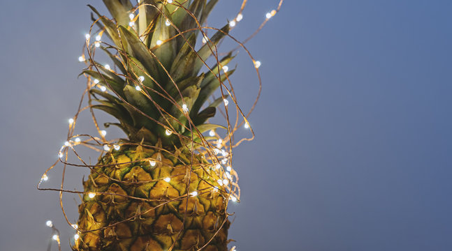 Close up view of pineapple with Christmas light garland with copy space, greeting card concept on gray background banner