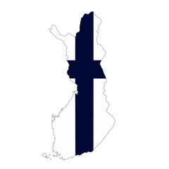 Map country with flag of Finland