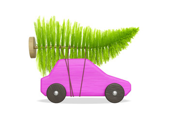 pink toy car with green christmas tree