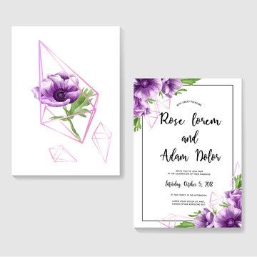 wedding invitation with purple anemone flowers, watercolor