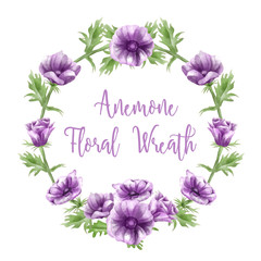 purple anemone flower arrangements, watercolors, text templates