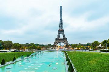 Eiffel tower at sunrise viewed from Jardins du Trocadero in Paris, France
