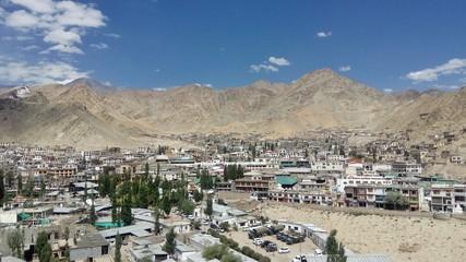 town among desert mountains