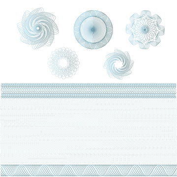 Set of watermarks and borders. Guilloche pattern for banknote, diploma, certificate, currency, voucher, money design. Guilloche decorative elements patterned background, frames, round elements. Vector