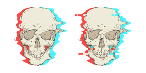 Two skulls. Interference.