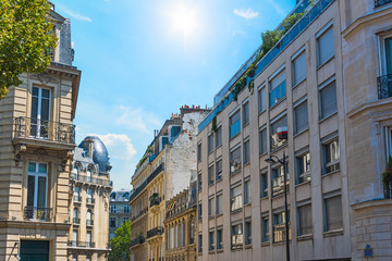 Elegant buildings under a blue sky in Paris