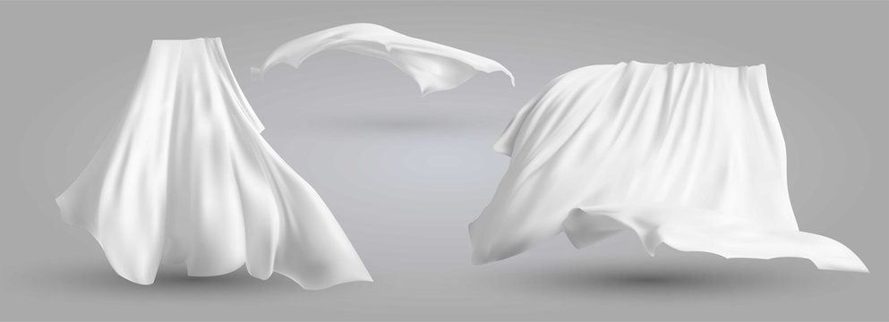 Set of realistic fluttering white cloths, soft lightweight clear material isolated on gray background vector illustration