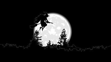 the witch on a broomstick flies against a full moon
