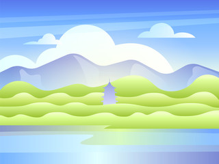 Landscape with mountains, the lake and east pagoda. Vector illustration in flat style