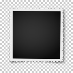 Retro realistic square photo frame with figured edges placed on transparent background. Vector template photo mockup.