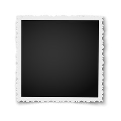 Retro realistic square photo frame with figured edges placed on white background. Vector photo mockup.