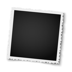 Retro realistic square photo frame with figured edges isolated on white background. Vector photo mockup.