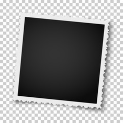 Retro realistic square photo frame with figured edges isolated on transparent background. Vector photo mockup.