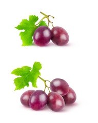 Isolated grape. Two images of red grapes on branches isolated on white background with clipping path