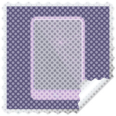 broken electronic tablet vector square sticker stamp