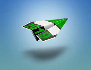 Flying paper plane origami for New Year 2019