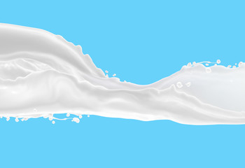 milk  on blue  background