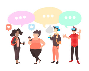 Vector set of teenagers with gadgets. Flat students with dialogue speech bubbles. Teens with different interests discuss social network