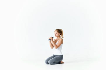 woman with dumbbells fitness sport
