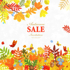 romantic invitation card with autumn colorful leaves for your de