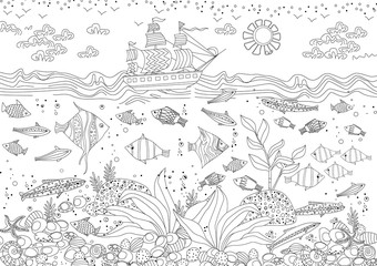 funny composition of marine life for your coloring book Wall mural