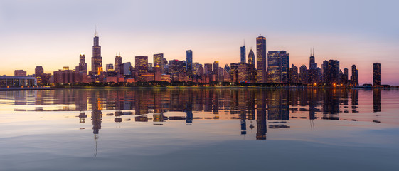 Self adhesive Wall Murals Chicago Sunset over city skyline Chicago from Observatory